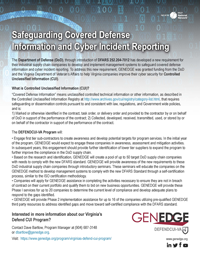 View GENEDGE's sheet on safeguarding covered defense information and cyber incident reporting