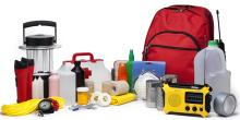 This is a photo of a variety of Emergency Supplies isolated on a white background.