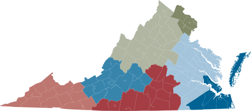 Map of Virginia Regions